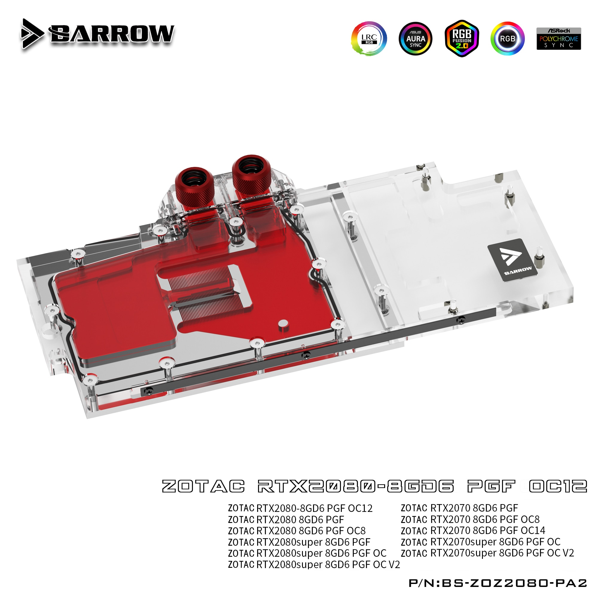بارو BS-ZOZ2080-PA2 ، غطاء كامل بطاقة جرافيكس كتل تبريد المياه ، ل Zotac RTX2080/2070 8GD6 PGF OC12/OC8/OC14