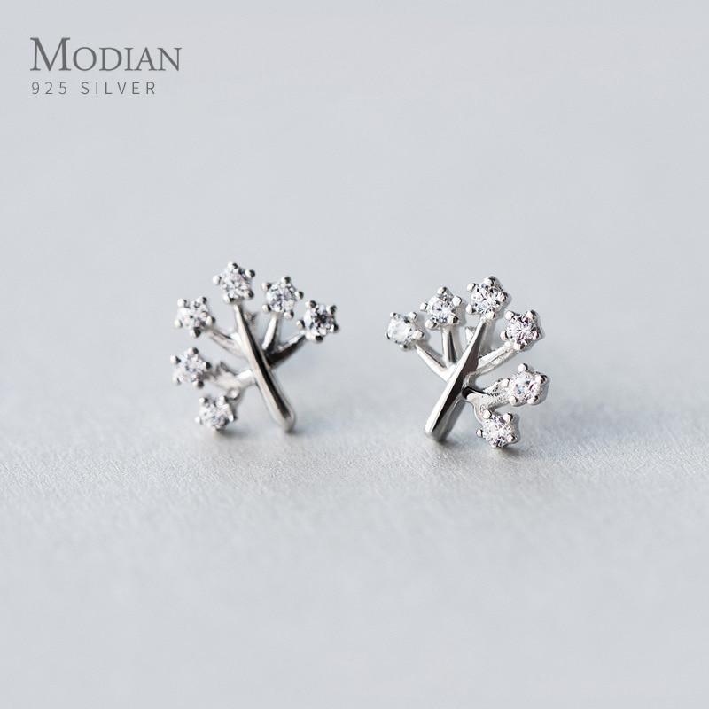 Modian árvore da vida brincos de prata bonito 925 prata esterlina clara cz brincos para a orelha feminina pino europeu jóias finas