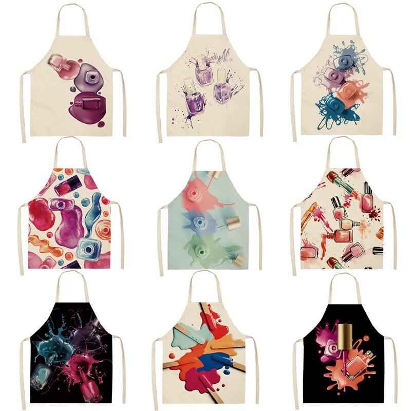 1 Pcs Kitchen Apron Color Nail Polish Bottle Printed Sleeveless Cotton Linen Aprons Men Women Home C