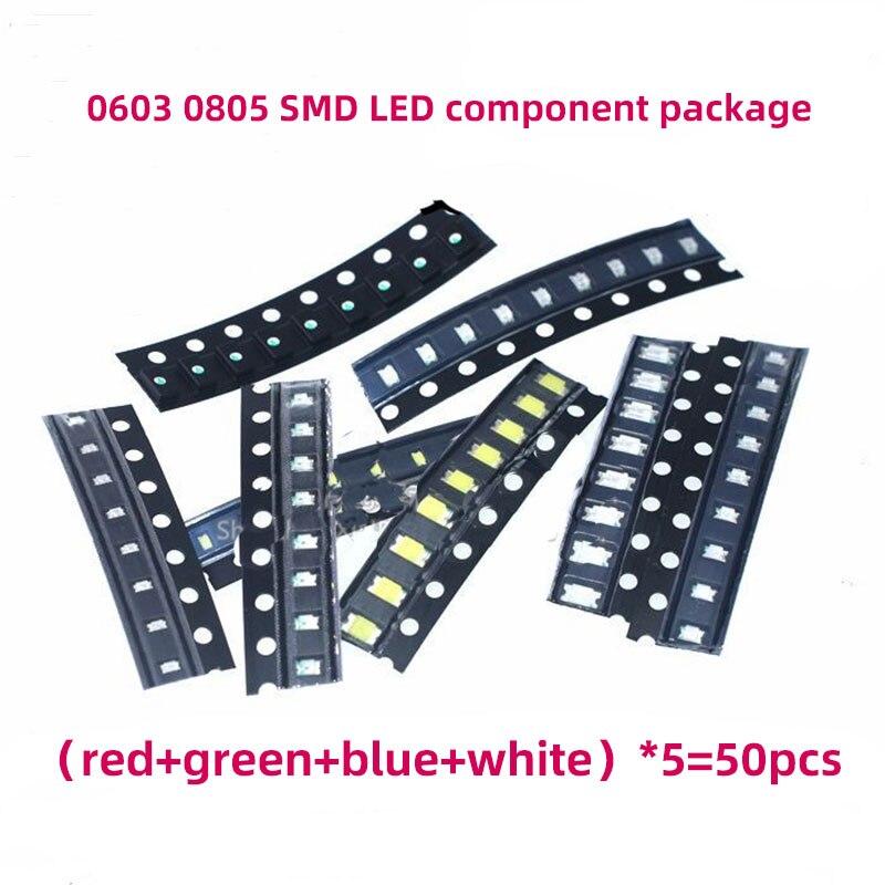 0805 0603 1206 SMD светодиодный светильник светодиоды часто используемых компонентов посылка цвета-красный, синий, зеленый, желтый, белый, 10