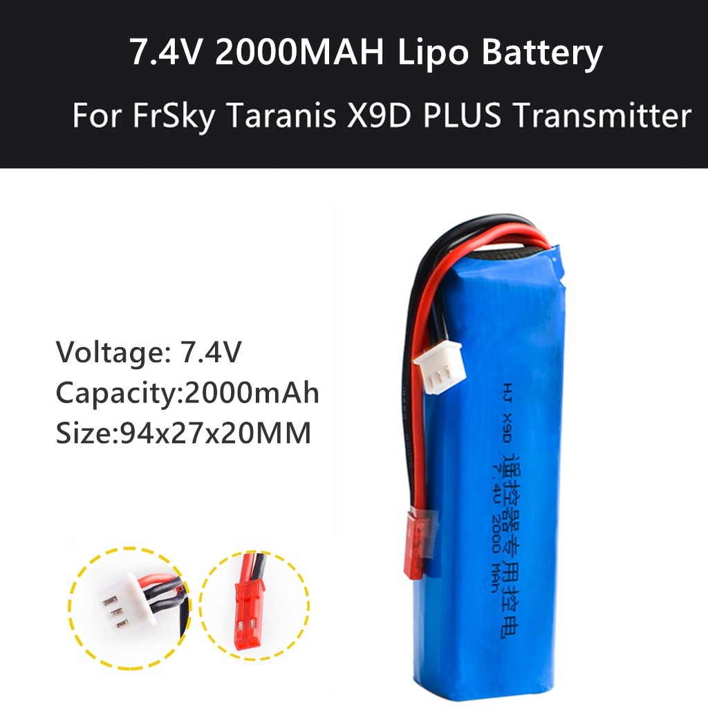 Mejora 7,4 V 2000MAH Lipo parte de la batería para FrSky Taranis X9D PLUS transmisor RC Drone accesorios RC partes