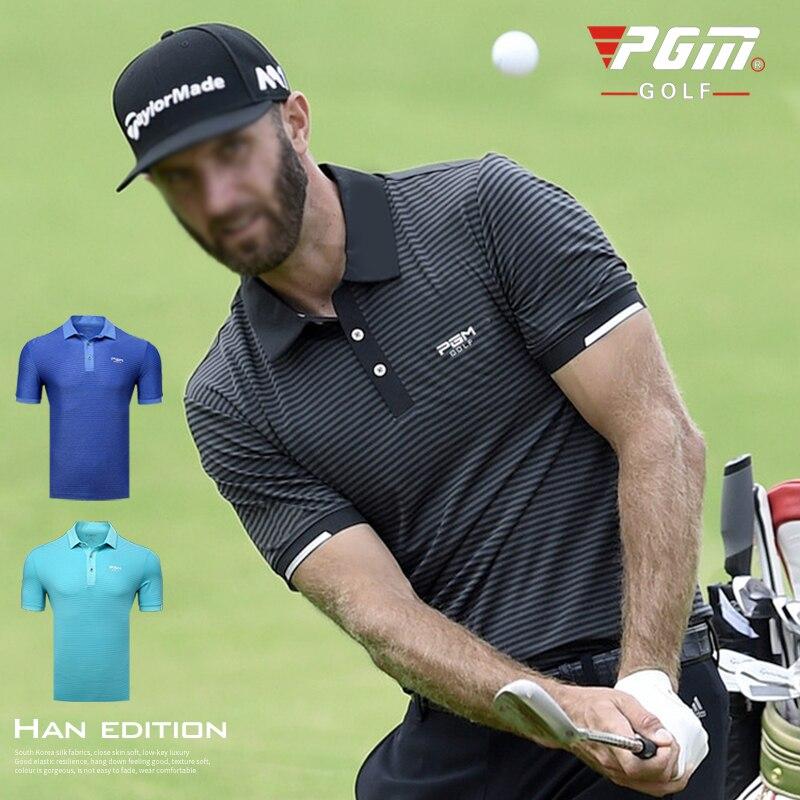 PGM Golf Polos Shirts Men Short Sleeve Training T-shirt Men Fitness T Shirt Summer Stripe Turn-down Collar  Tops Running T Shirt