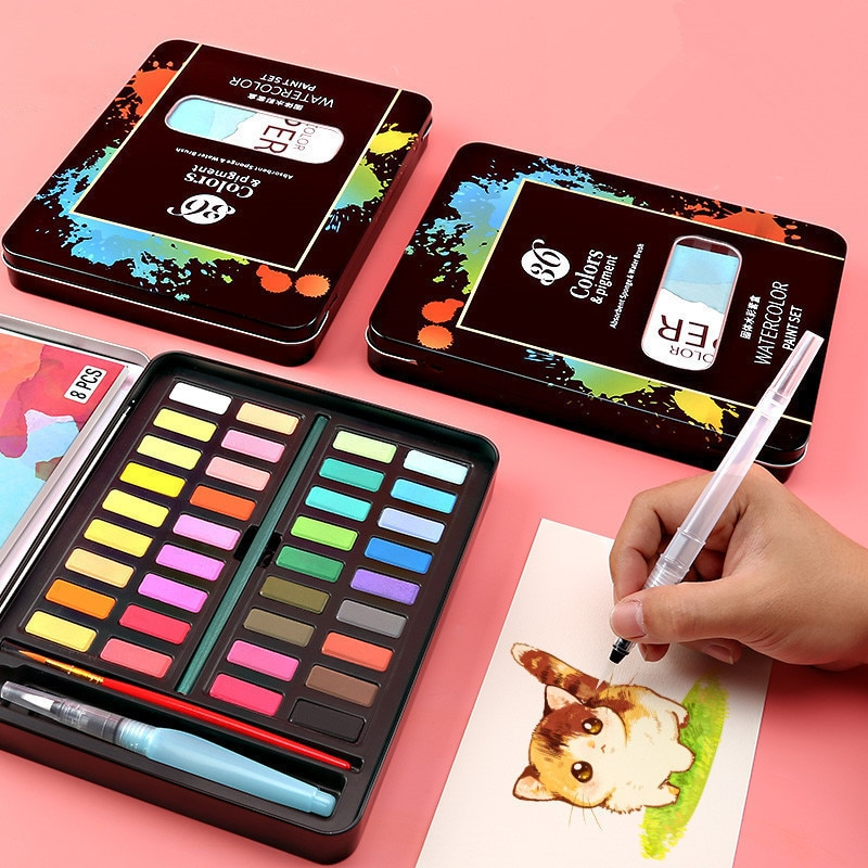 Professional Watercolors Painting Set With Paint Brush 36 Colors Solid Watercolor Paint Art Sets for Painting Loves Art Supplies