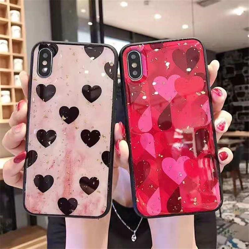 Oro de lujo de funda de teléfono con corazón de amor para OPPO A9 2020 A11X Reno Ace 2Z 10X Zoom verdadero yo XT C2 K1 K3 K5 A1K F11 R17 Pro F9 A7