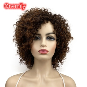 Onemily Short Kinky Curly Heat Resistant Synthetic Hair Wigs for Women Girls with Bangs Party Evening Out Fun