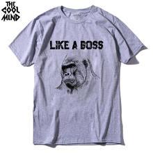 COOLMIND QI0123A décontracté 100% coton comme un patron gorille imprimé hommes t-shirt street style lâche o-cou Tricoté hommes tshirt