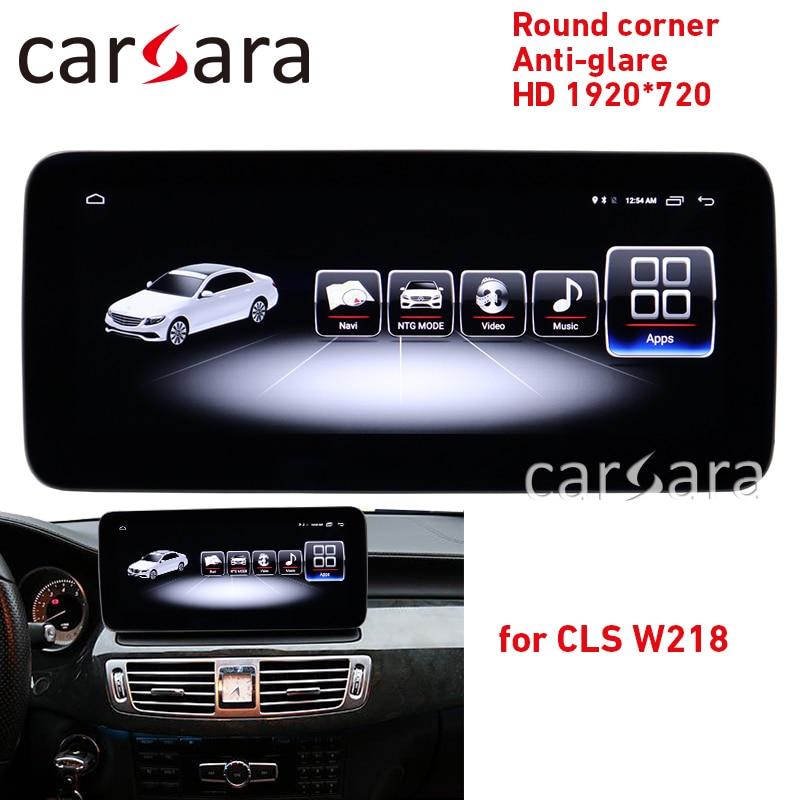 GPS screen CLS W218 round corner anti-glare display C218 NTG4 radio upgrade android head unit interface X218 4G ram HD 1920 navi