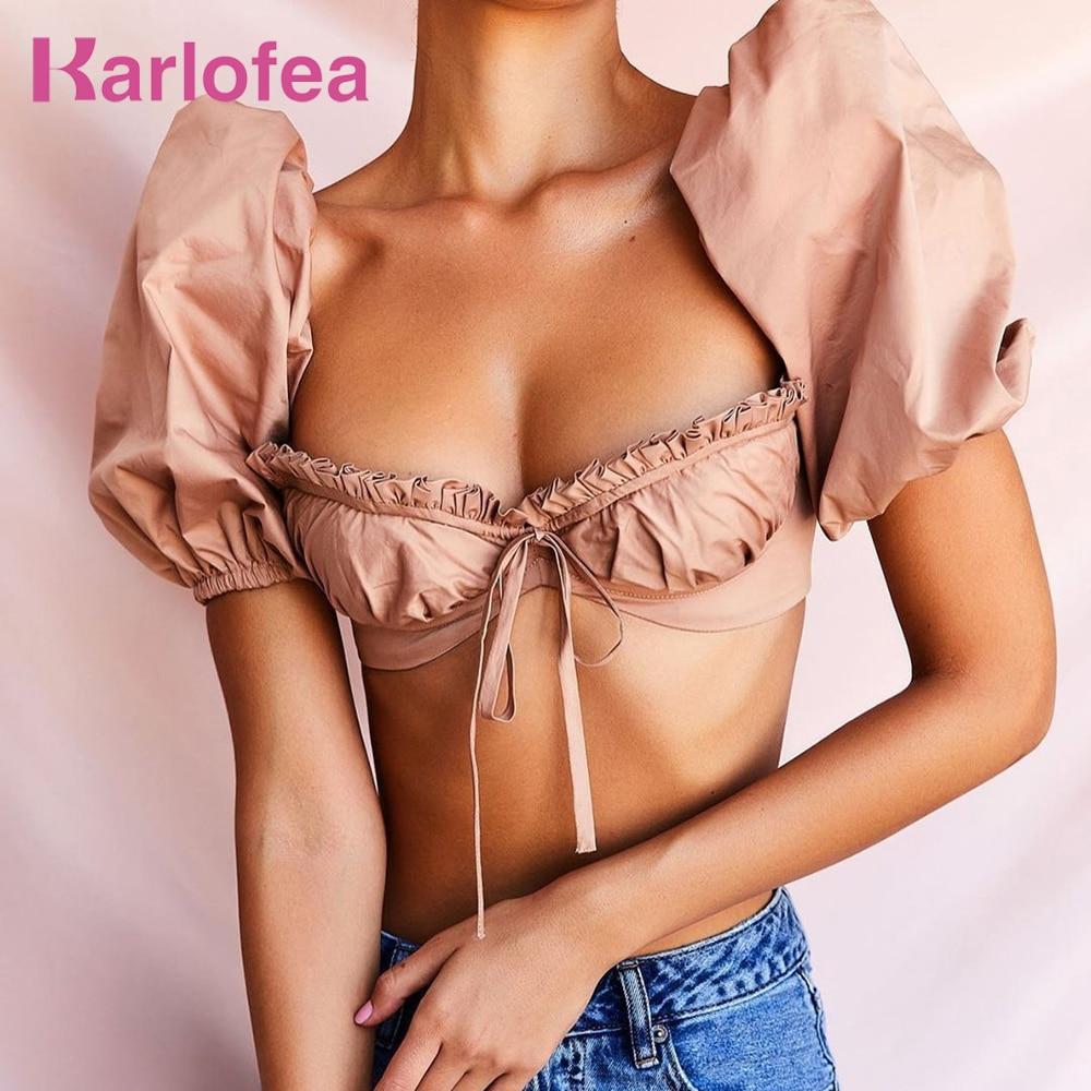 Kealofea corsé con varillas Tops para mujer verano blusas Vintage camisas Sexy Puff manga corpiño acolchado volantes Tops cortos