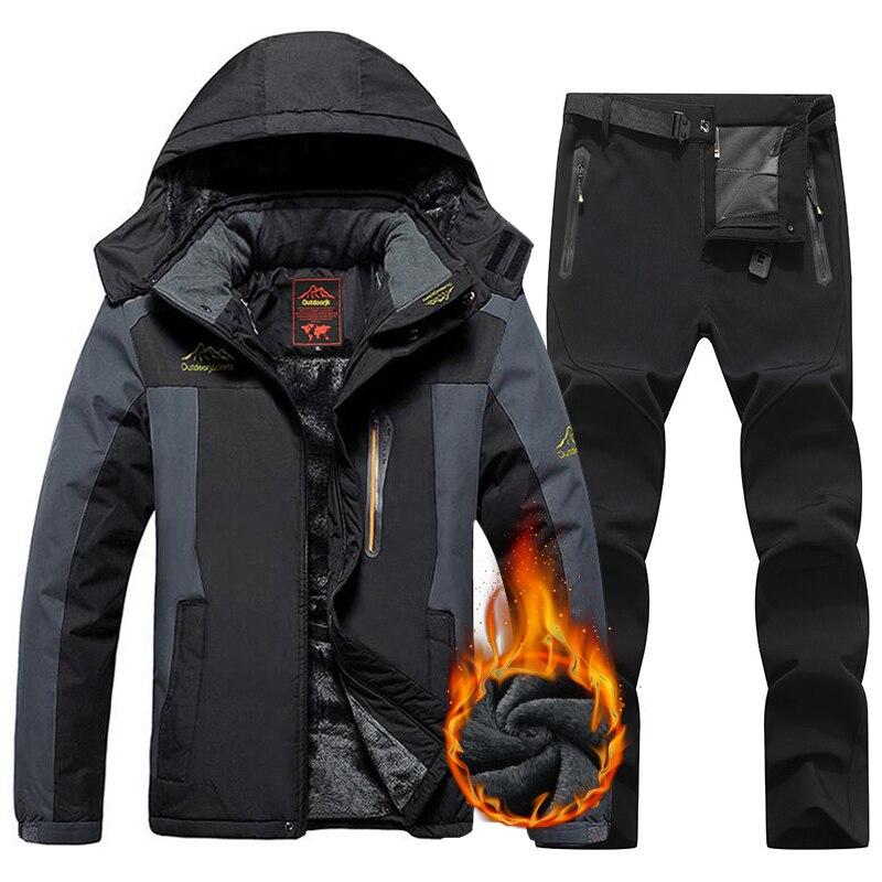Мужской лыжный костюм 9XL, зимние теплые ветрозащитные водонепроницаемые уличные спортивные зимние куртки и брюки, горячее лыжное снаряжени...