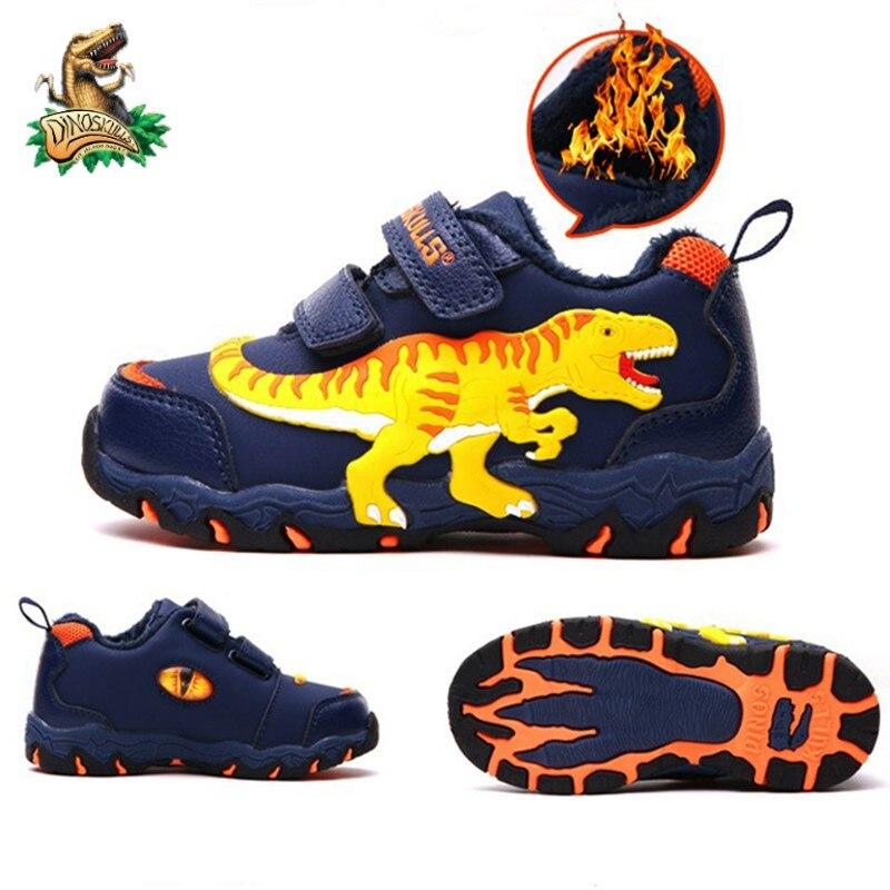 Dinoskulls الفتيان الشتاء أحذية T-Rex LED الاطفال الإضاءة أحذية رياضية الدافئة أفخم بطانة الجلود موضة الأطفال في الهواء الطلق أحذية الأولاد