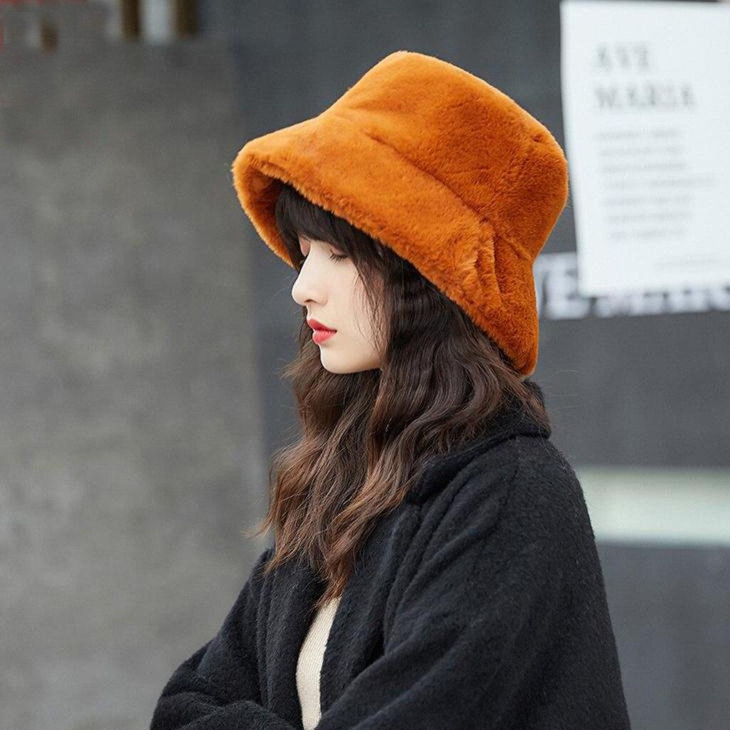 Sombrero de piel sintética de Invierno para mujer y niña, gorro de pesca grueso suave y grueso a la moda, gorro de vacaciones al aire libre, sombrero de señora Panamá