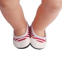 43 cm boy american dolls shoes spring casual white shoes with red stripes born baby toy accessories 18 inch girls gift g2