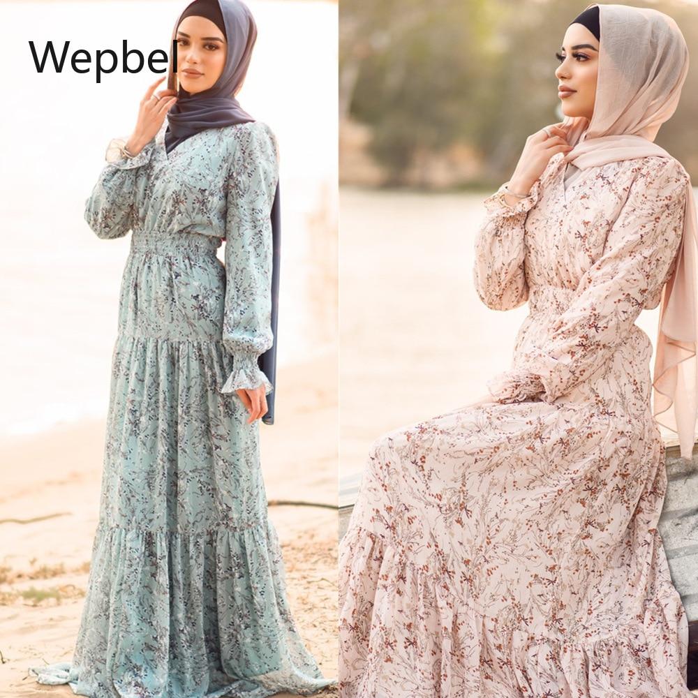 WEPBEL عربي دبي فستان نسائي مسلم مقاس كبير فساتين مُزينة بطباعة عباية بطول الكاحل ثوب مطبوع كم طويل خصر عالي فستان