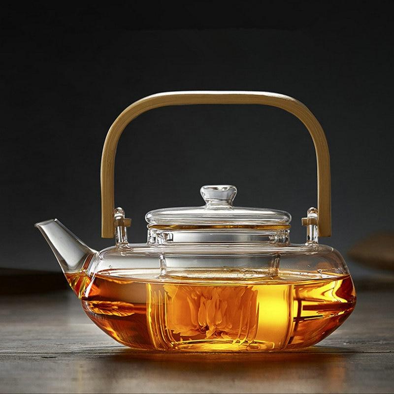 Pyrex-إبريق شاي زجاجي, إبريق شاي زجاجي إبداعي على شكل زهور إبريق شاي منزلي أعمال سعة كبيرة صانع شاي مصنوع يدويًا من زجاج البورسليكات