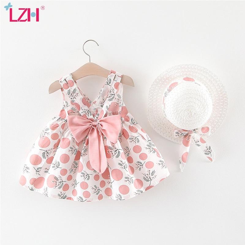 LZH 2021 Summer Baby Girls Dresses For Baby Casual Beach Bow Print Sundress Princess Dress Infant Dress Newborn Clothes Send Hat