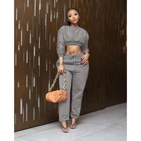 autumn two piece outside sweat suits set for women crew neck long sleeve crop top and drawstring straight jogger running trouser