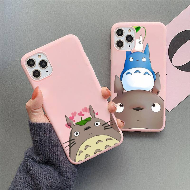 Totoro cute anime Miyazaki Hayao Phone Case Candy Color for iPhone 11 12 mini pro XS MAX 8 7 6 6S Plus X 5S SE 2020 XR
