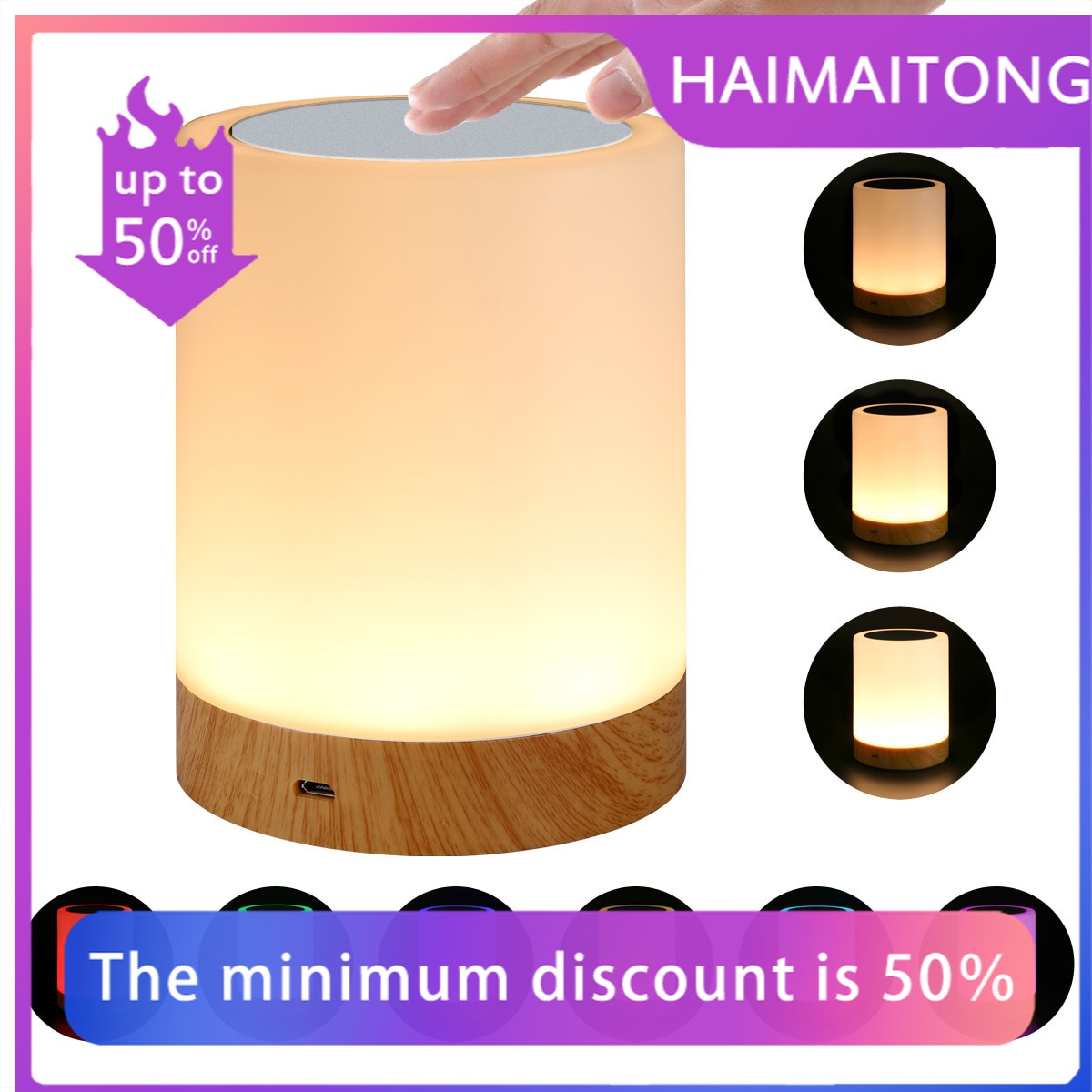 New LED colorful creative wood grain rechargeable night light gift bedside lamp table lamp touch pat atmosphere light 24cm big moon lamp usb holiday atmosphere decorative sleeping table lamp touch bedside kids baby light creative gift chargeable