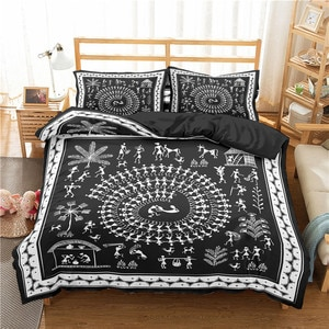 Indian Gothnic Bedding Set 3D Traditional Dance Reactive Printed Duvet Cover Pillowcase Home Textiles Queen King Quilt Cover