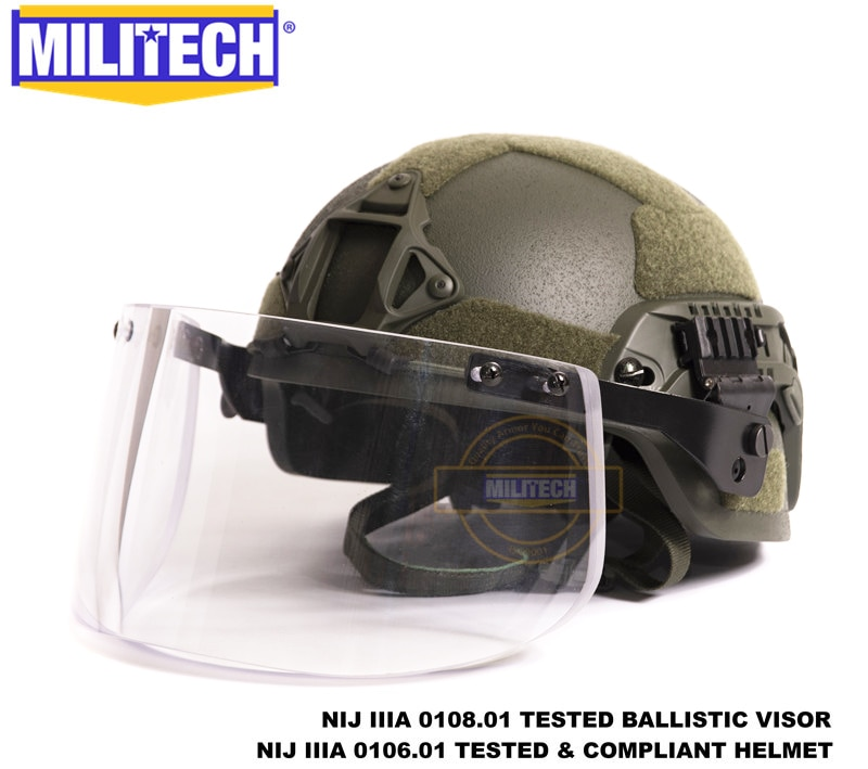 MILITECH-خوذة واقية من الرصاص مضادة للرصاص من الأراميد مع قناع تكتيكي بالستية ، مستوى NIJ IIIA 3A