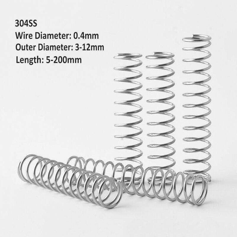 Пружины компрессионные Y-образные из нержавеющей стали 304, диаметр пружины 0,4 мм, внешний диаметр 3/4/5/6/7/8/9/10/12 мм, Длина 5-200 мм