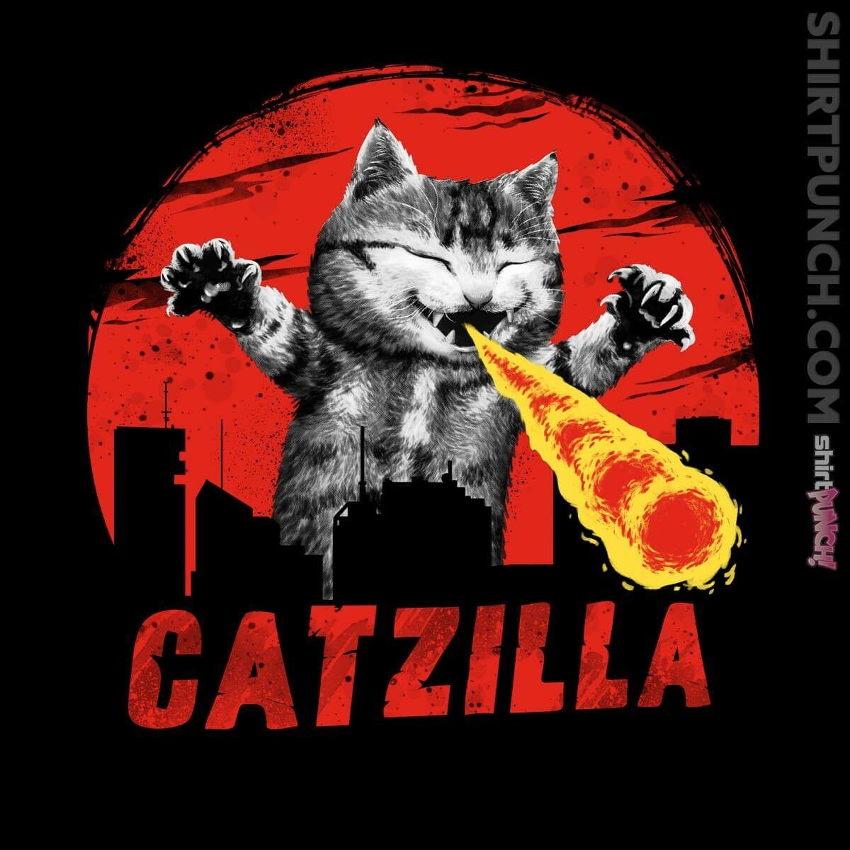 Gojira Kaiju, rey de los monstruos Tokio atómica CATZILLA camiseta (2XL)