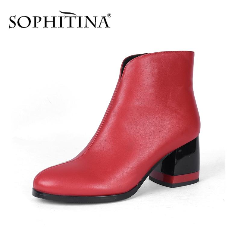 Sopitina-حذاء نسائي من جلد الغنم ، حذاء كلاسيكي ، مقدمة مستديرة ، مريح ، كعب مربع ، شتوي ، pcبذلة