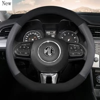 for mg 3 5 6 7 zs hs gs ehs ezs gt ev rx leather suede car steering wheel cover 15 inch38cm car accessories