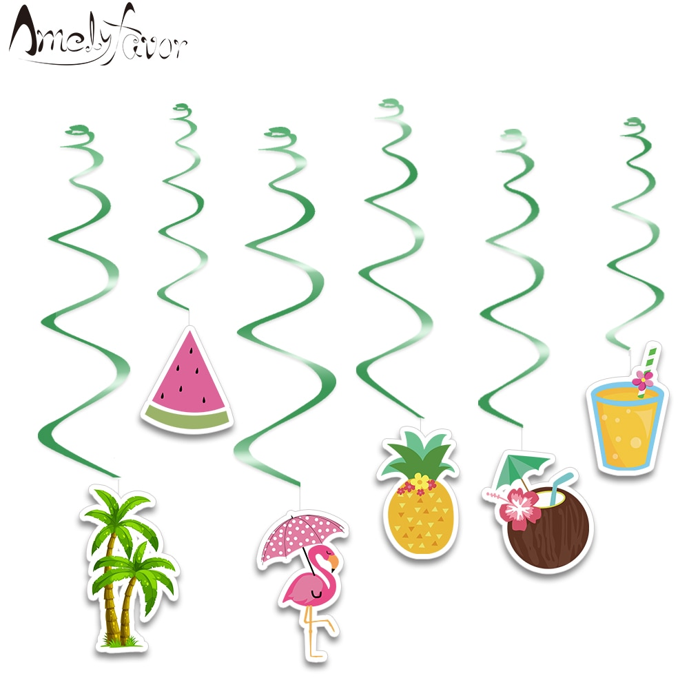 Flamingo Summer Holiday Theme Hanging Swirl Decorations Pineapple Coconut Decorations Supplies Birth