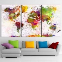 3 panel world map color continent posters wall art pictures canvas home decor posters paintings living room bedroom decoration
