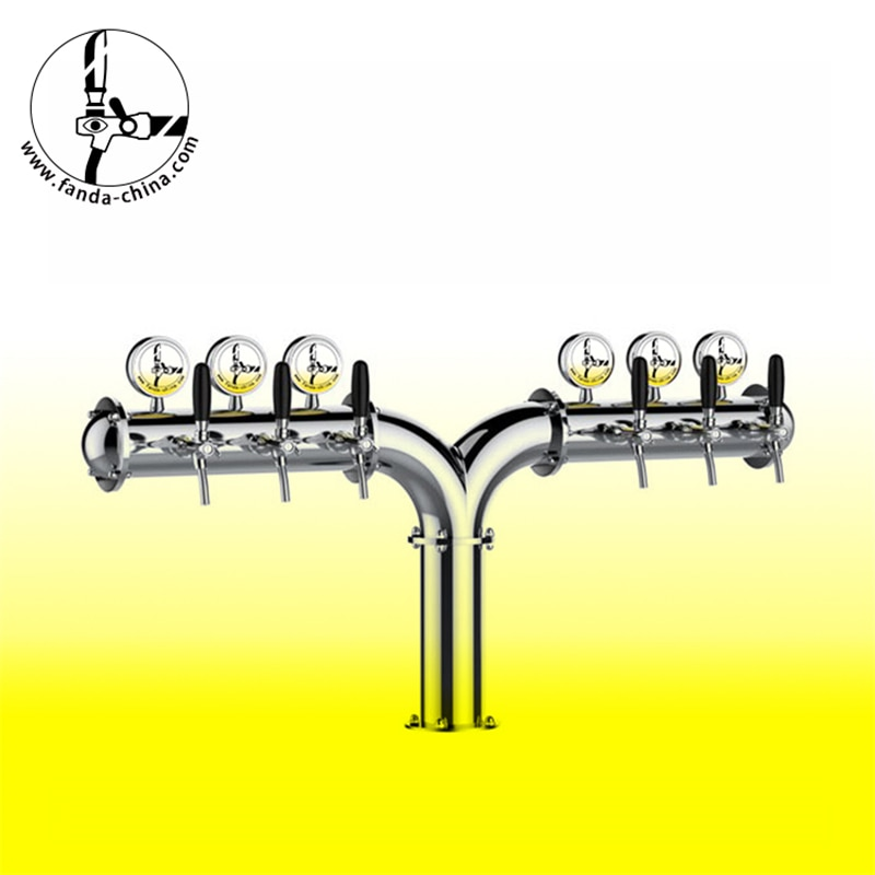 Torre de cerveza de acero inoxidable con 6 grifos con medallón de cerveza de luz Led de llenado de cerveza FD-Y-6