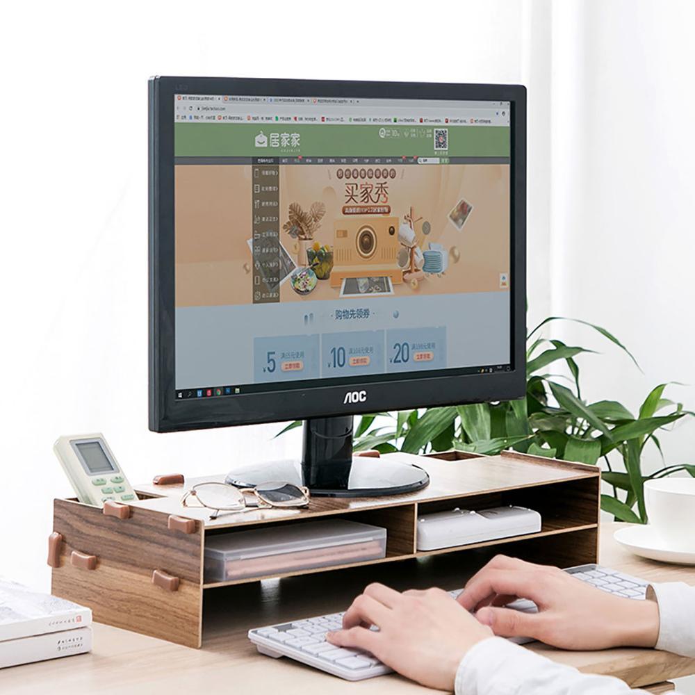 Monitor de computador estande desktop tv madeira prateleira computador tela riser plinth portátil suporte mesa armazenamento rack organizador