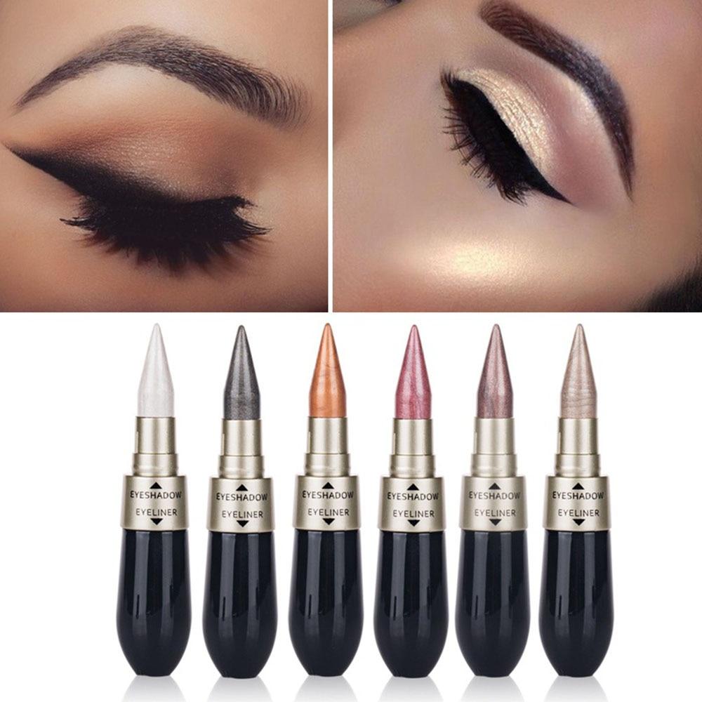2 In 1 Double Eyeliner Liquid Waterproof Durable Eye Shadow Pen Creative Eye Shadow Combination Makeup Tool TSLM2