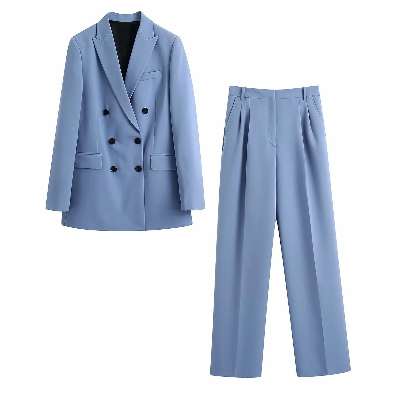 2021 New Women 2 piece set suit Double breasted Blazer and Trousers Elegant High Fashion Chic Lady Woman blazer Outfits