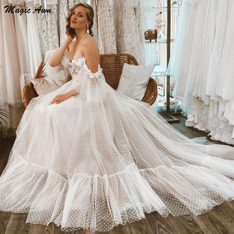 Magic Awn Off The Shoulder Princess Wedding Dresses Boho Lace Appliques Short Sleeves Illusion Polka Dots Tulle Mariage Gowns недорого