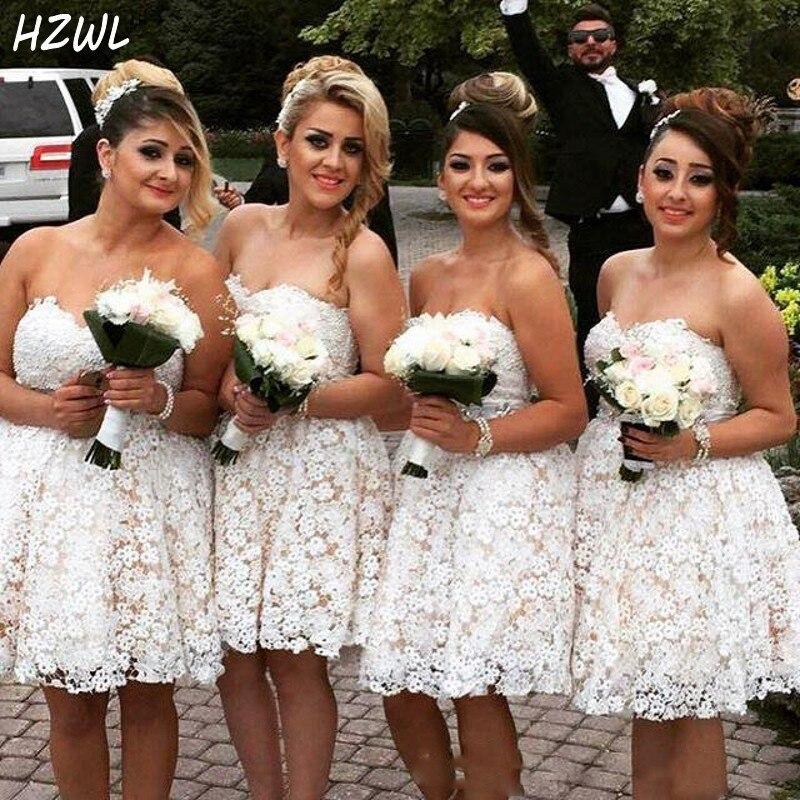 Винтажные кружевные короткие платья подружки невесты без бретелек в стиле кантри 2020, недорогие платья подружки невесты с открытыми плечами