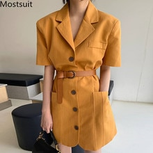 2020 Summer Korean Single-breasted Belted Blazer Dress Women Short Sleeve Notched Collar Pockets Fashion Office Mini Vestidos
