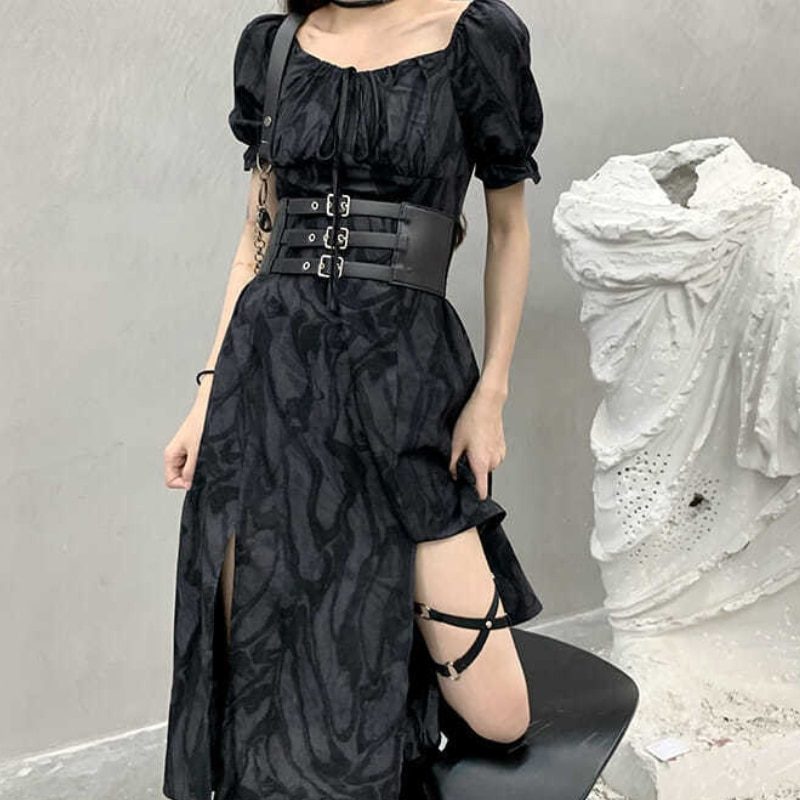 HOUZHOU Goth Dress Woman Harajuku Dark Black Long Dress Tie Dye Gothic Punk Split Fork Puff Sleeve Vintage Summer Streetwear