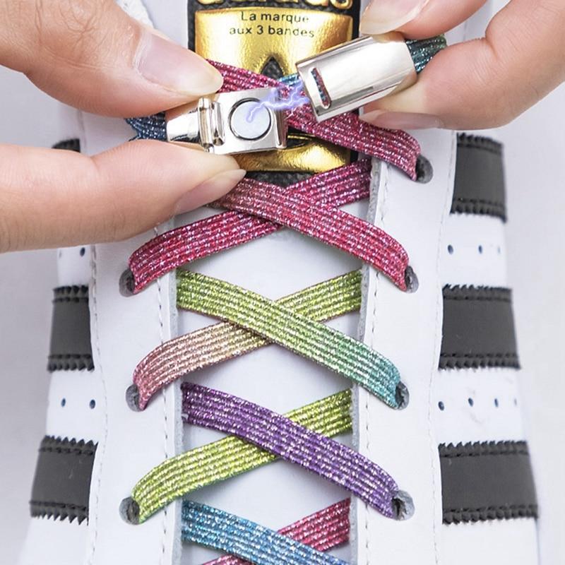 1Pair Magnetic Shoelaces Elastic Colorful Flat Shoe laces No Tie Shoelace Kids Adult Sneakers Lazy L