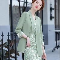 professional suit womens summer floral garden suit fishtail skirt two pieces jacket dress women dress jaket two piece dress