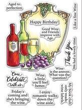 Timbres transparents pour scrapbooking   Timbre clair en papier vin joyeux anniversaire artisanal A0535