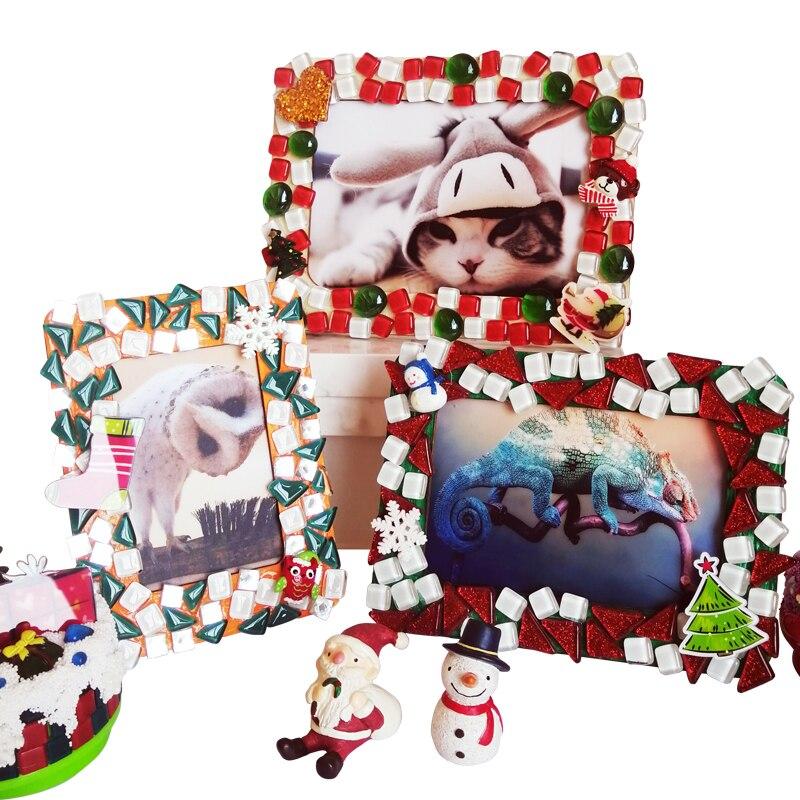 1 Juego de materiales de mosaico de marco de fotos DIY, azulejos de mosaico de vidrio de colores mezclados, Material de artesanía de rompecabezas para niños, regalo de Año Nuevo para niños