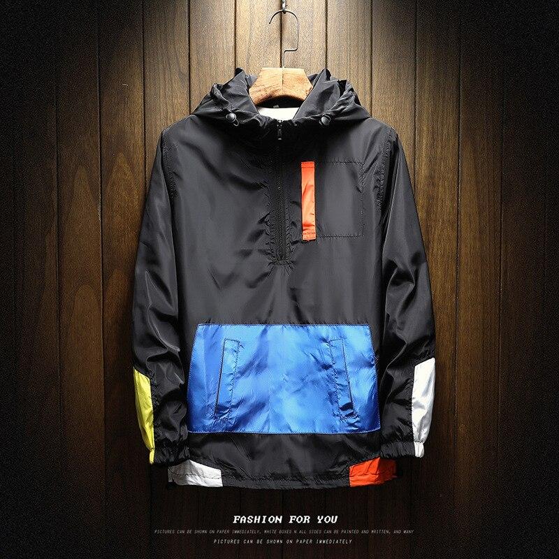 Мужская куртка-бомбер на молнии, повседневная куртка с капюшоном, ветровка в стиле пэчворк, Мужской пуловер, весна-осень 2021