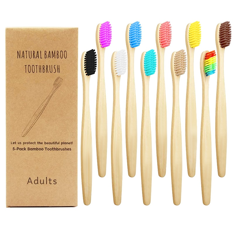 Зубные щетки-упаковка из 10 биоразлагаемых экологически чистых натуральных бамбуковых углей