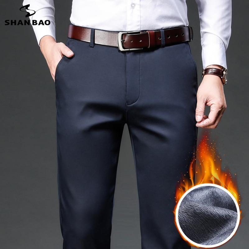 شان باو 2021 الشتاء ماركة الصوف سميكة الدافئة صالح مستقيم بنطلون الأعمال الرجال عادية عالية الخصر lyocell السراويل الكلاسيكية