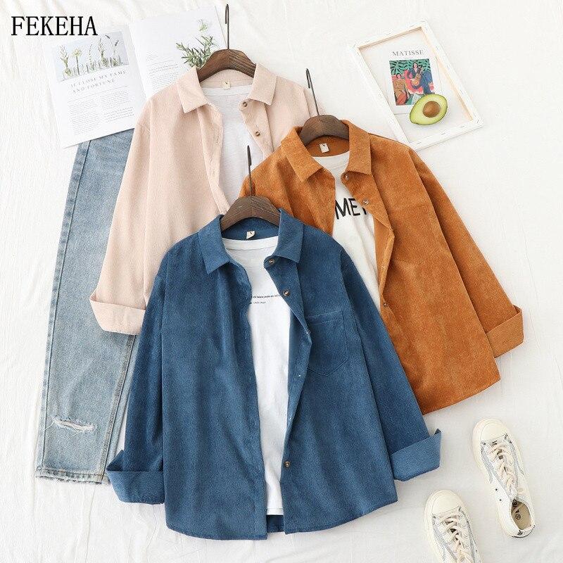 Chaquetas de otoño, camisas de pana para mujer, camisas sueltas de manga larga, blusas informales para mujer, prendas de vestir, ropa femenina