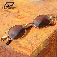 SIMPRECT Steampunk Sunglasses Women 2021 Retro Oval Sunglasses Men Anti-blue Light Sun Glasses For M