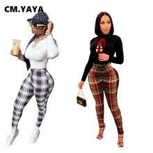 CM.YAYA taille haute Plaid pantalon maigre pour les femmes en plein air mode pantalons longs automne hiver Leggings