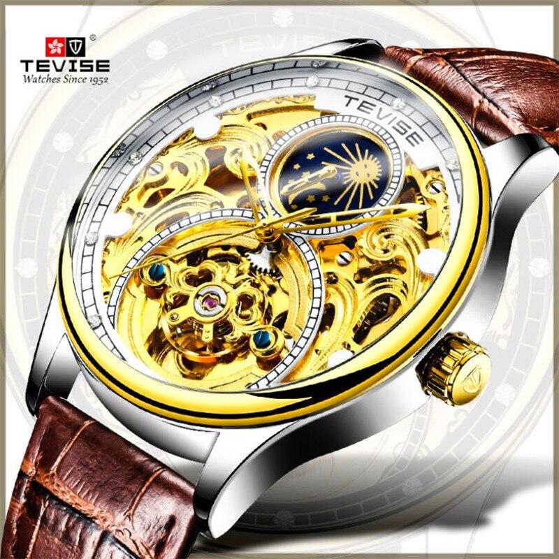 Men Tourbillon Mechanical Watches Luxury Casual Reloj Business Wristwatch Leather Watch Men Automati