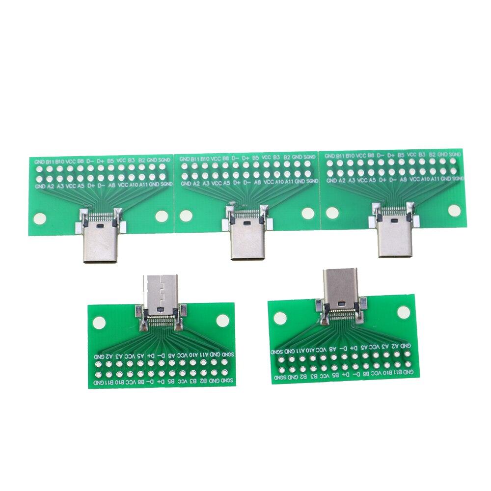 Conector tipo C macho a hembra USB3. 1 adaptador de placa Tipo PCI de prueba tipo C 24P 2,54mm toma para Cable de línea de datos